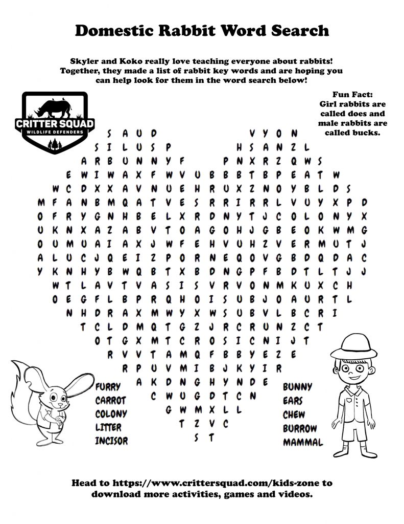 Domestic Rabbit Word Search